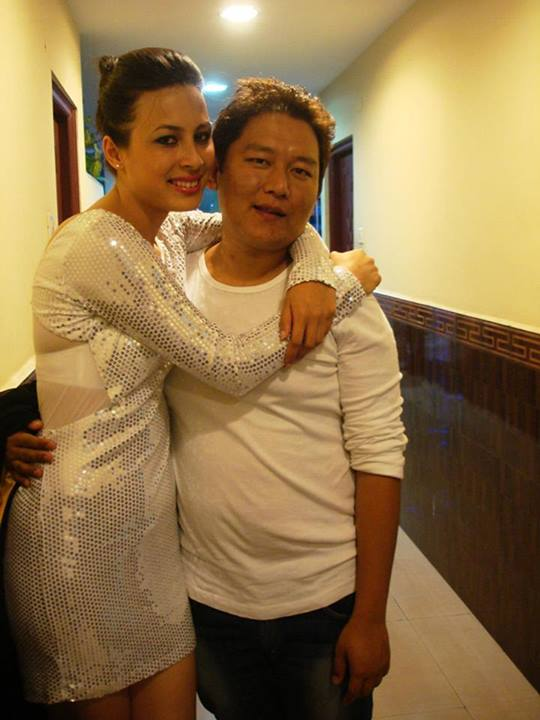 Designer Jamphel Samdup with former Miss Tibet Tenzin Yangkyi (2011)